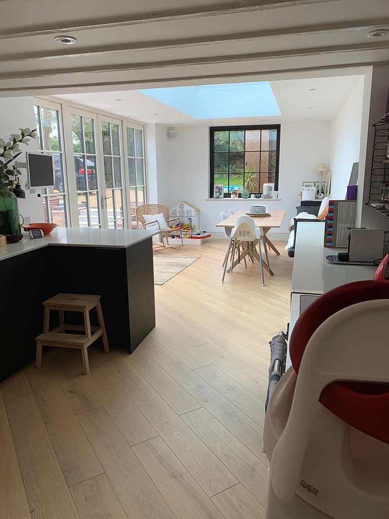 Internal view of completed Barford domestic extension project