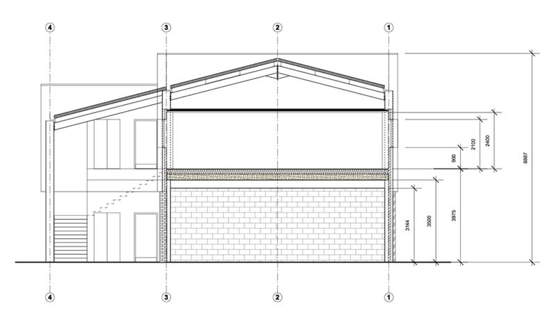 Section view of commercial design