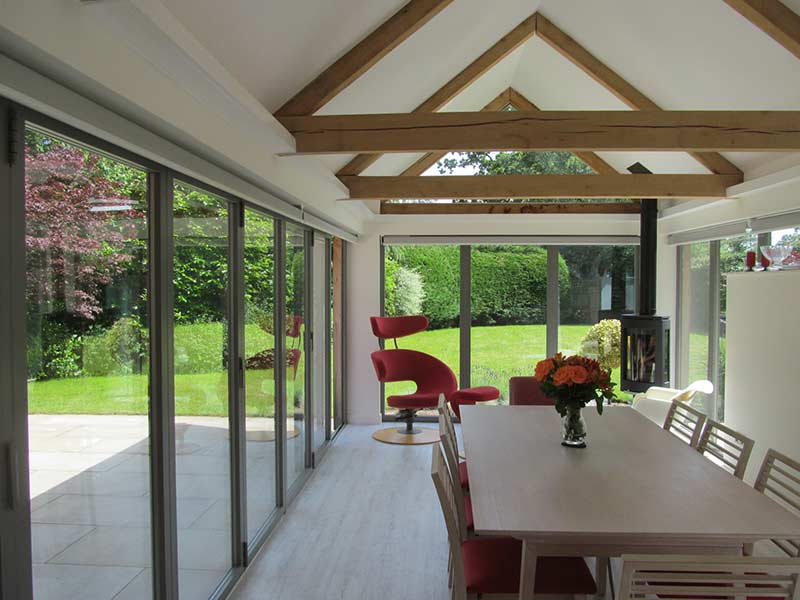 dining table in extension interior-view to garden