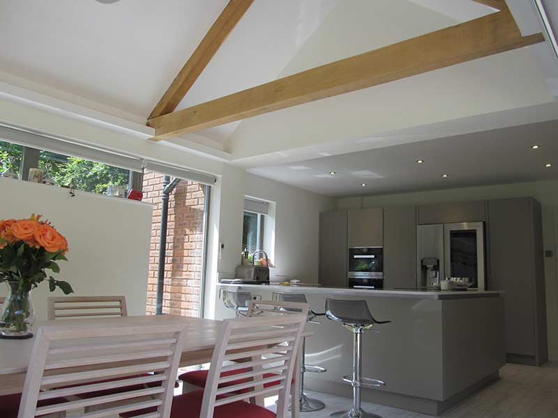 kitchen-extension view to dining area and open doors